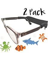 Kids Glasses and Sunglasses Strap - 2 Pack | Anti-Slip Active Glasses Strap | Bonus Deep Sea Adventure Stickers | COLORS