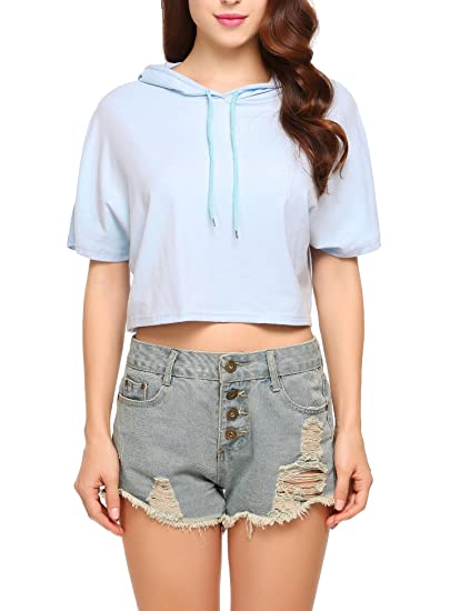 ee77fdc1fc4985 EASTHER Women s Summer Casual Lightweight Pullover Hoodie Short Sleeve  Loose Crop Top at Amazon Women s Clothing store