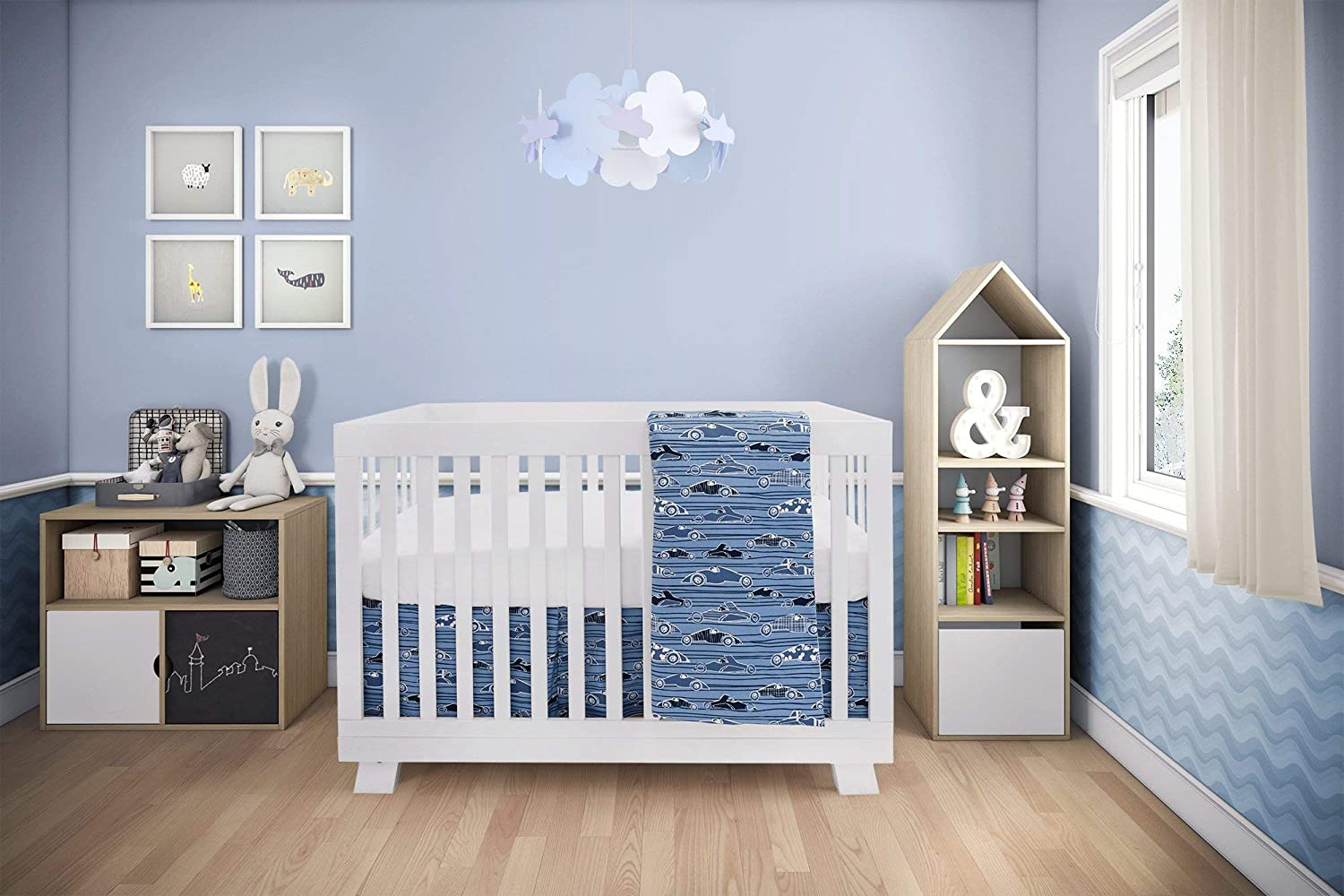 Boys and Girls Including: Fitted Sheet+ Crib Comforter+ Comforter Cover+ Skirt 4 Pieces Blue Racing Cars Design BEBELELO Baby Crib Bedding Set