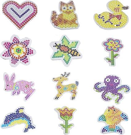 Perler 22645 Fuse Bead Pegboards 7-Pack-Boy//Girl//Bear//Monkey//Butterfly//2 Flowers