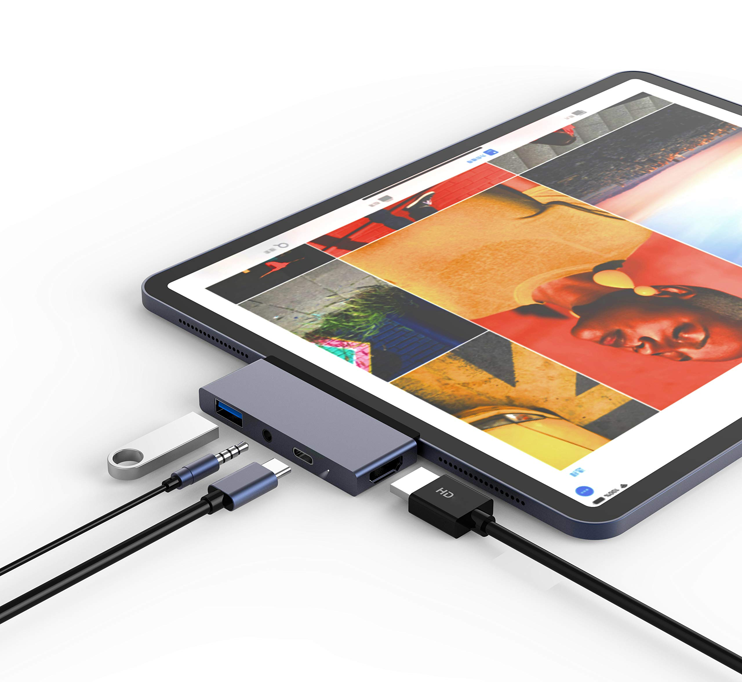 USB Type-C Hub Dongle Adapter for iPad Pro 2018-4 in 1 USB C Hub with 4k HDMI, 3.5mm Headphone Jack, USB 3.0, PD Charging - Compatible with iPad Pro 11''/12.9'' 2018 & MacBook Pro by YIanton