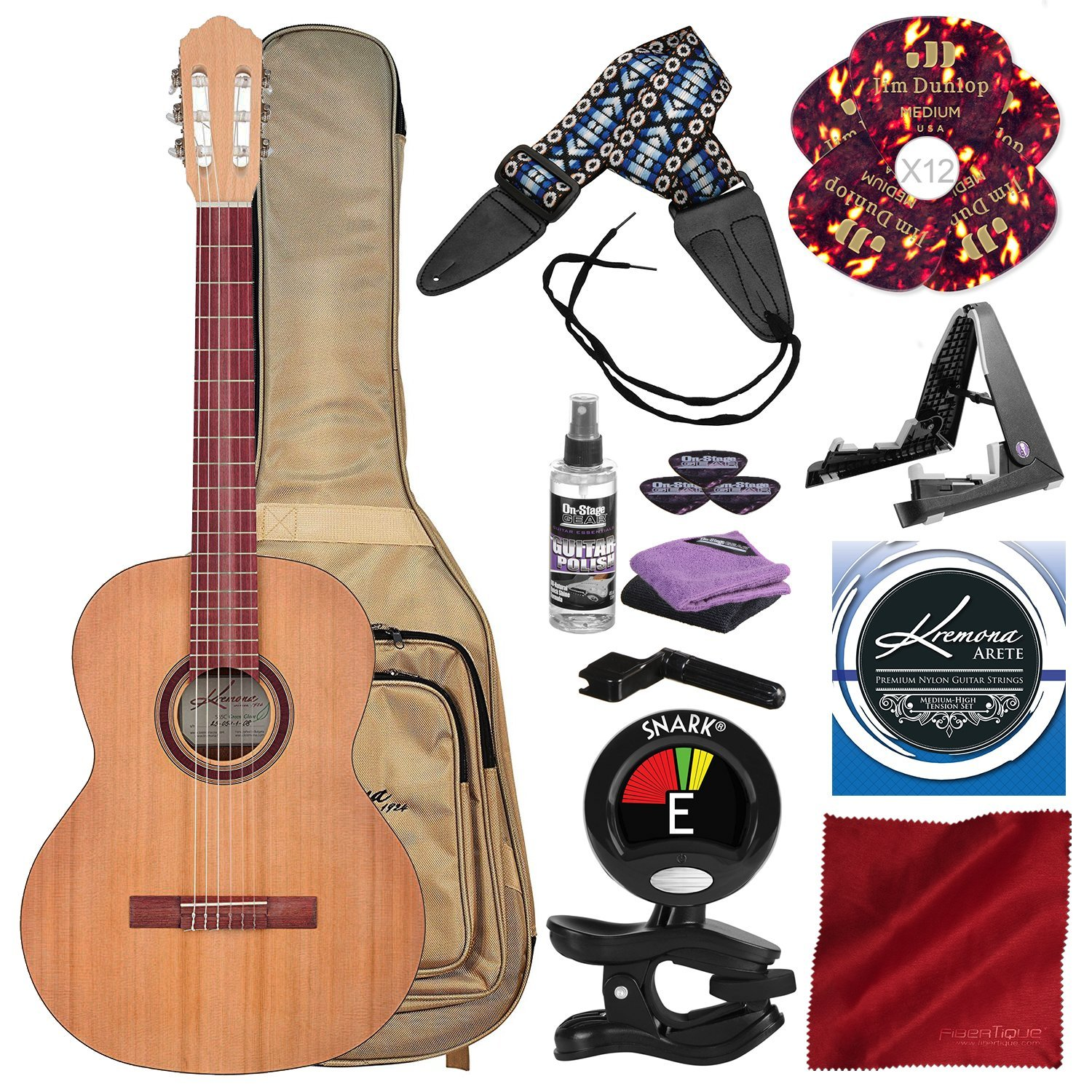 Kremona S65C GG Green Globe Series Nylon String Classical Guitar with Guitar Stand, Pick, Tuner, Cleaning Equipment, and Deluxe Bundle