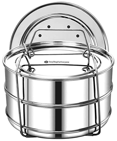 e94897b88f EasyShopForEveryone Stackable Steamer Insert Pans with Sling compatible  with Instant Pot Accessories Pot in Pot