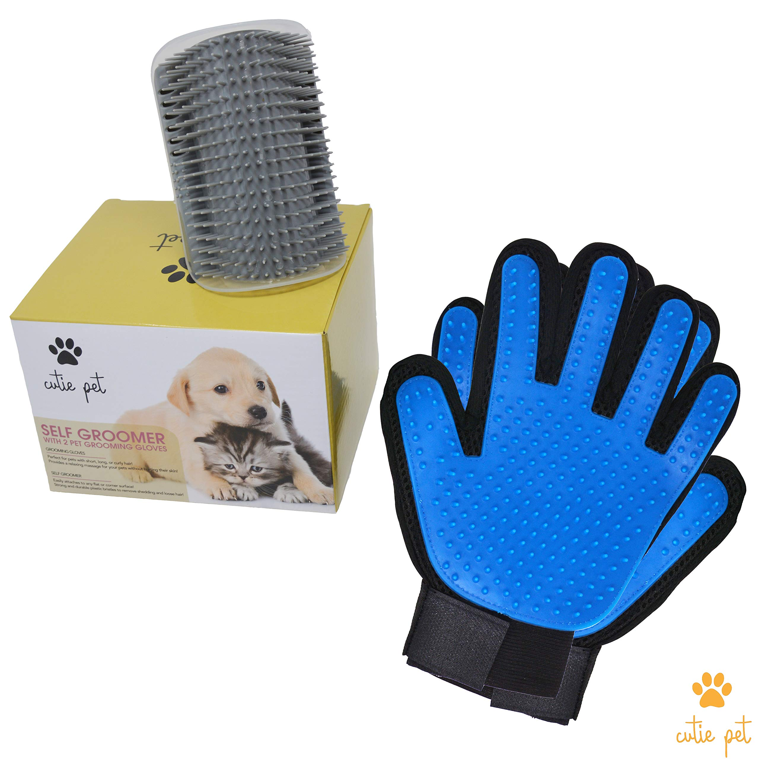 Cutie Pet Grooming Kit - Hair Remover Gloves with Wall Corner Massage Self Groomer - Deshedding Bundle for Dog & Cat with Long & Short Fur