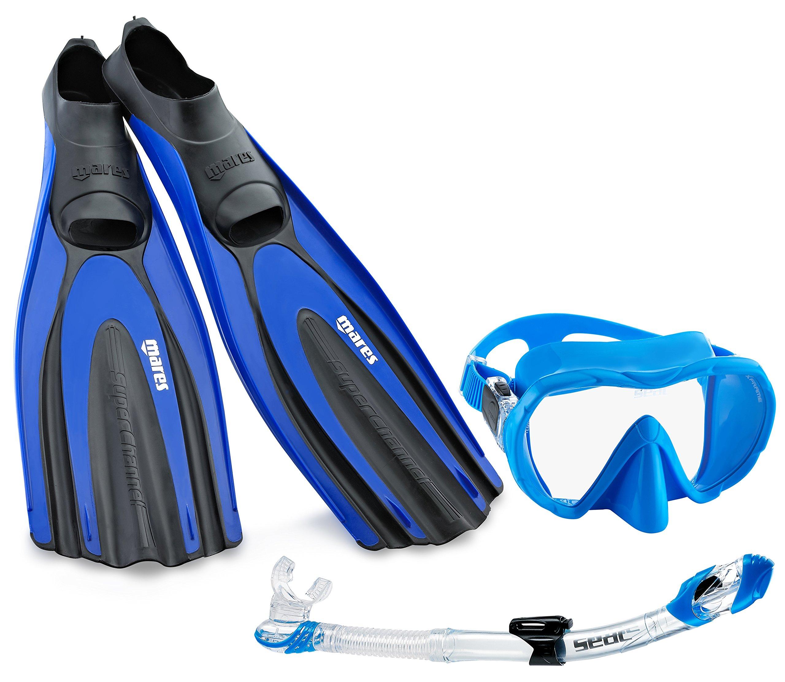 Mares SA036RBL Avanti Superchannel Full Foot Fins with Frameless Mask Snorkel Combo, Blue, US 3.5-4.5/EU 36