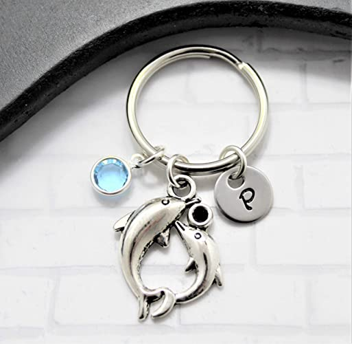 Stainless Steel Dolphin Keychain - Cute Sea Animal Jewelry - Dolphin Themed  Gifts - Personalized Initial & Birthstone - Fast Shipping
