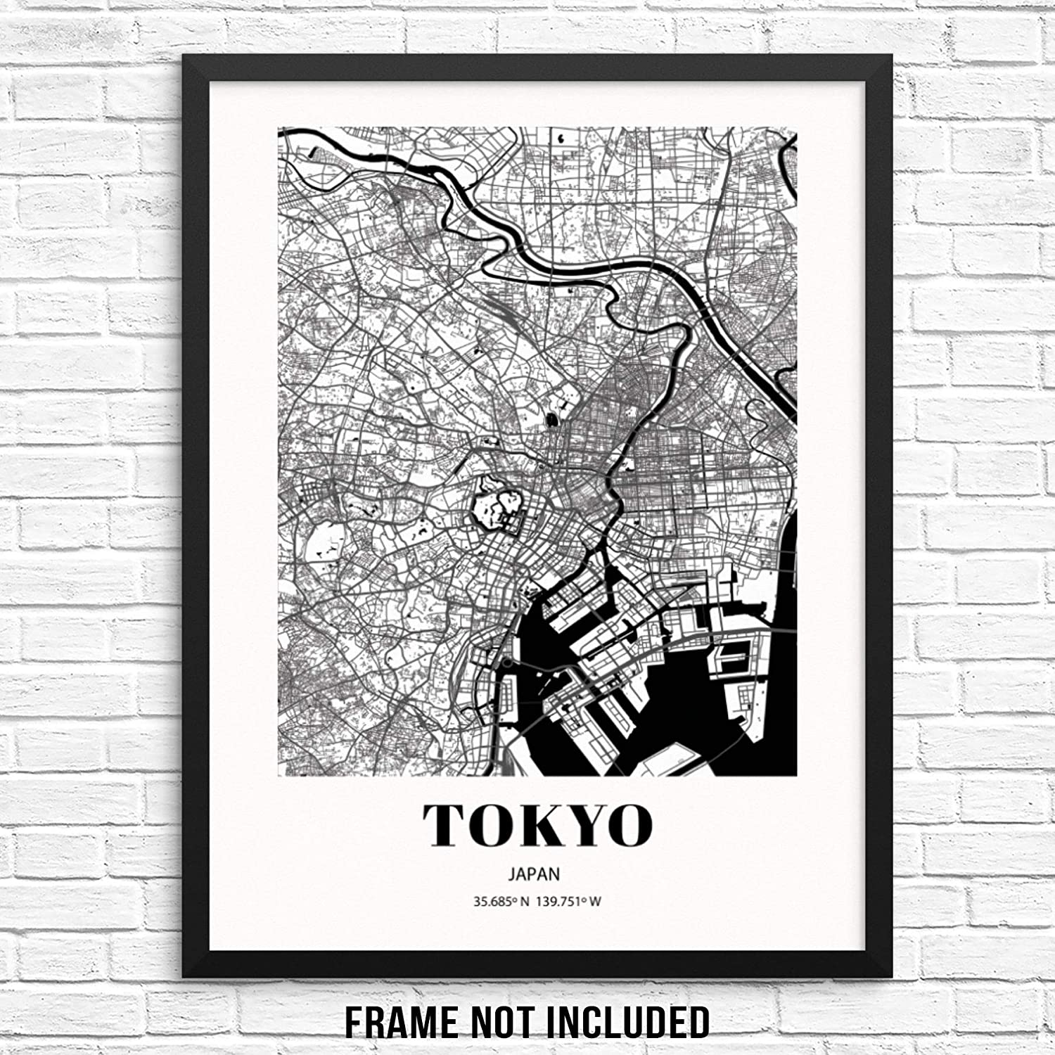 """Tokyo City Grid Map Art Print Japan Cityscape Road Map Wall Poster 11""""x14"""" UNFRAMED Black White Modern Urban Home Decor Artwork for Living Room, Bedroom, Entryway, Home Office or Gift (TOKYO)"""