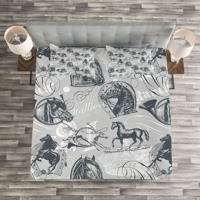 ABAKUHAUS Gris Couvre-Lit Gris Blanc 264 x 220 cm D/écoration Murale Cheval Royal Animal Retro