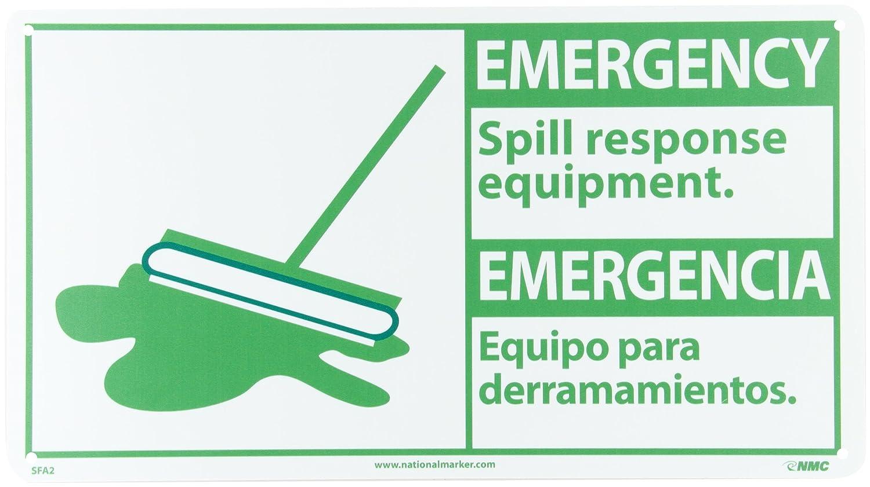 Green on White Legend EMERGENCY- Spill response equipment NMC SFA2R Bilingual OSHA Sign Legend EMERGENCY- Spill response equipment with Graphic 18 Length x 10 Height NMCSFA2R Rigid Plastic with Graphic 18 Length x 10 Height