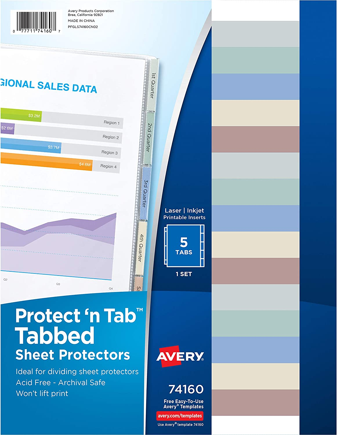 Avery Protect 'n Tab Tabbed Sheet Protectors, Acid Free, 5-Tab Pack (74160)