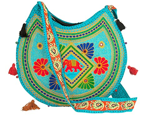 42808a5e69d4 Amazon.com  Hippie Sling Handmade Crossbody Bag Boho Chic Patchwork  Embroidered Shoulder Purse Gypsy Blue  Shoes