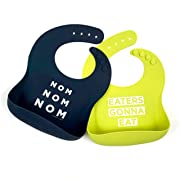 Simka Rose Silicone Bib - Waterproof Baby Bibs for Girls and Boys - Perfect for Babies and Toddlers - Easy to Clean Feeding Bibs - Set of 2 (Navy/Lime)