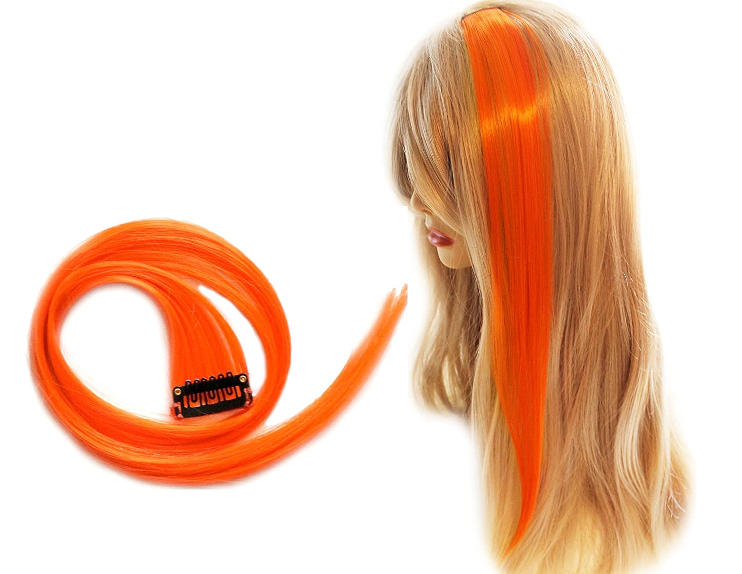 2 X 22 Clip In Straight Hair Extensions Bright Orange Low Cost
