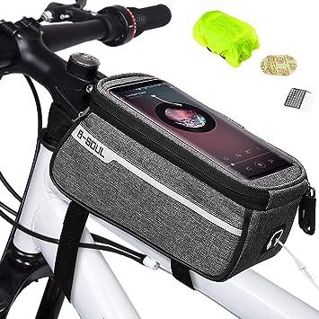 Weeygo Bolsa de Bicicleta, Bolsa de Marco de Bicicleta Bolso Impermeable del Soporte del teléfono del Tubo del Tubo Superior de la Bici para ...