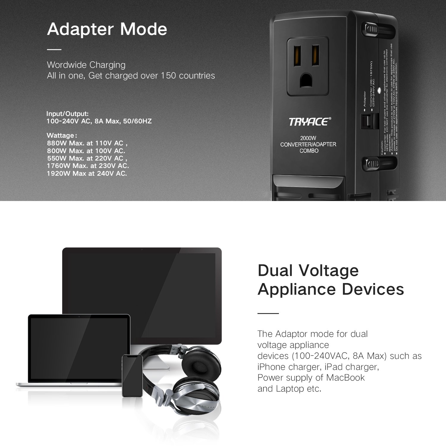 TryAce 2000W Worldwide Travel Converter and Adapter Set Down Voltage 240V to 110V Combo International Voltage Converter for Hair Dryer Phones Laptop All in One Plug Adapter Wall Charge for UK/AU/US/EU by TryAce (Image #3)