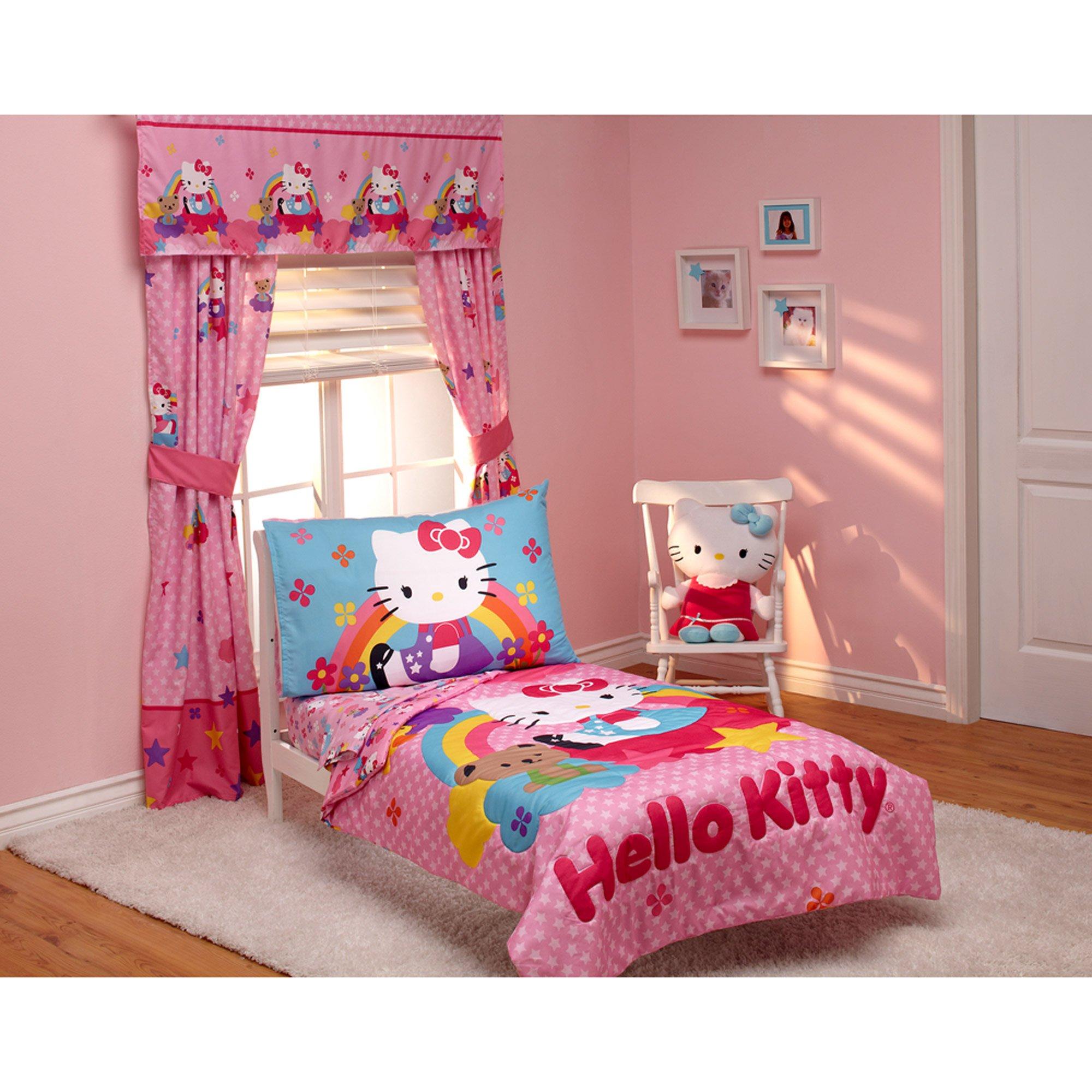 Hello Kitty Stars and Rainbows 4-piece Toddler Bedding Set