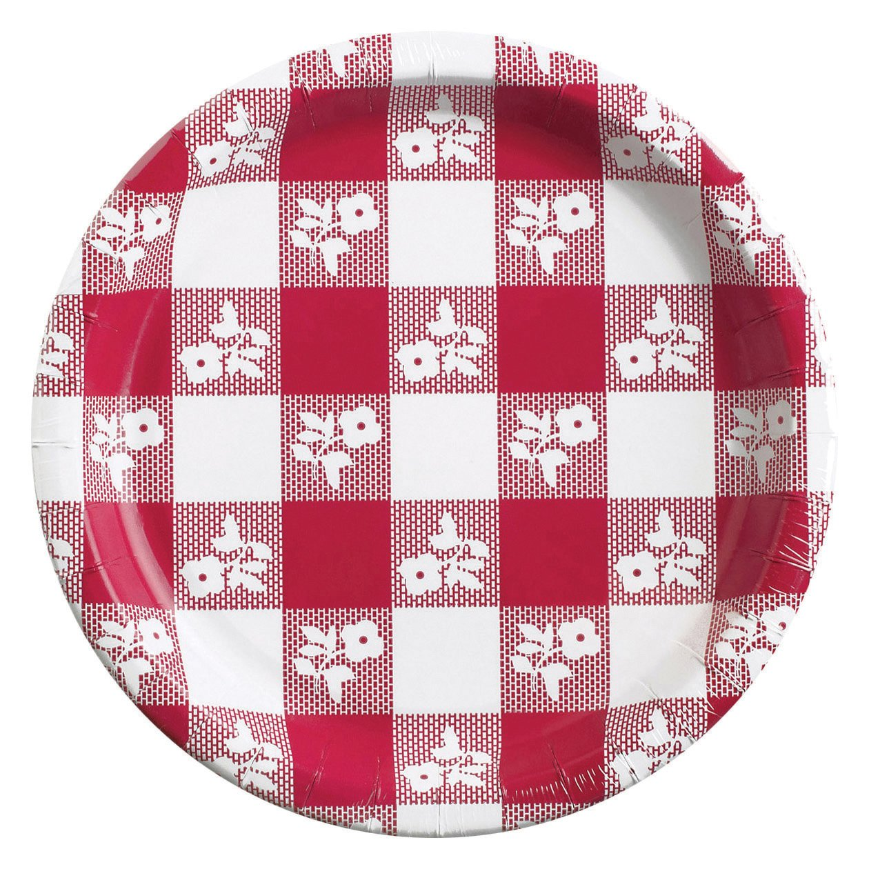 Creative Converting 10-1/4 Inch Red Gingham Paper Plates, 8 Count (Pack of 2)