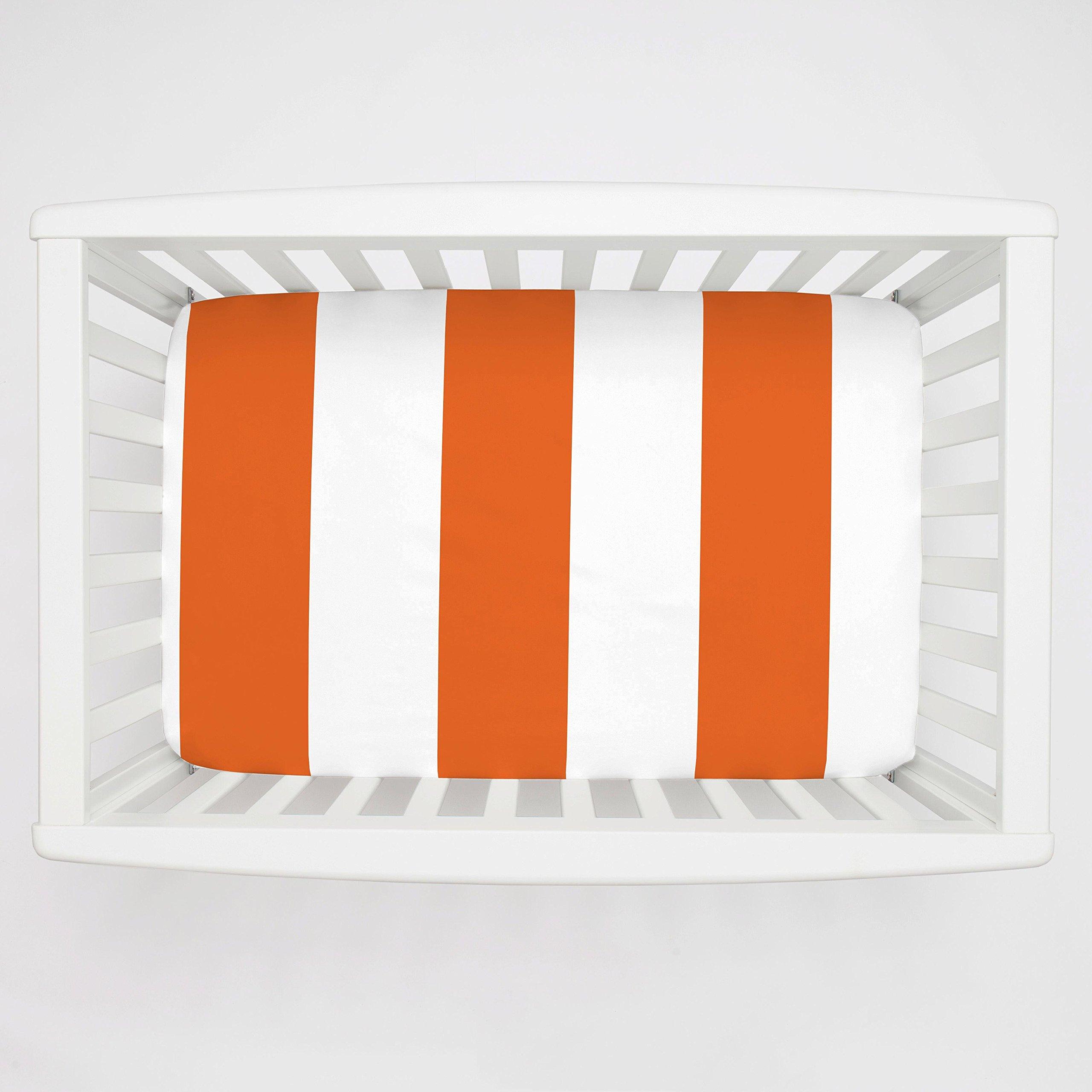 Carousel Designs College Orange Horizontal Stripe Mini Crib Sheet 1-Inch-4-Inch Depth - Organic 100% Cotton Fitted Mini Crib Sheet - Made in the USA