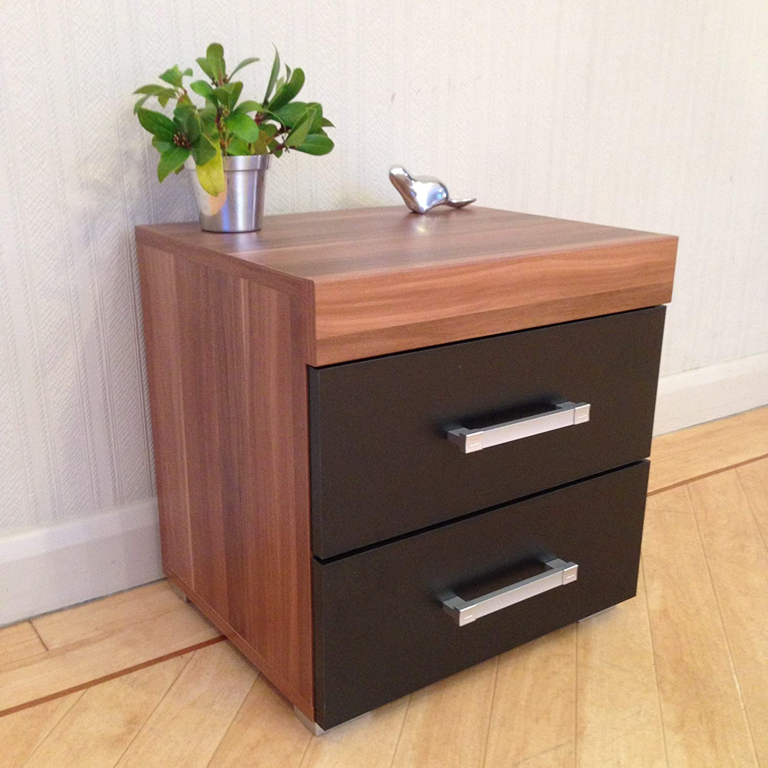 DRP Trading 2 Drawer Black & Walnut Bedside Cabinet/Table Bedroom Furniture