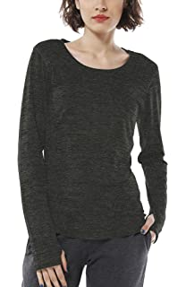 Sykooria Women Fitness Yoga Tops with Thumb Hole Long Sleeve Baggy Round Neck Workout Sportswear Training T-Shirts Activewear