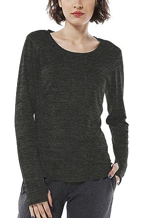 icyzone Damen Laufshirt Langarm T-Shirts atmungsaktive Funktionsshirt für Sport Fitness