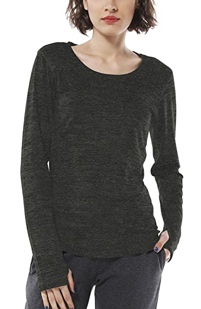 c76997a302f348 icyzone Women s Workout Yoga Long Sleeve T-Shirts with Thumb Holes (Black  Heather
