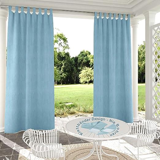 132x305cm Azul Cielo Cortinas para Exteriores de Velcro, Resistentes al Viento, Resistentes al Agua, Resistentes a la harina, para jardín, balcón, casa de Playa, vestíbulo, Cabana: Amazon.es: Jardín