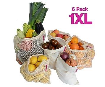 WiseWay Bolsas de Productos Reutilizables de Algodón | Juego de 6 piezas 1XL, 2L, 2M, 1S - Malla y Muselina de Algodón Natural | Bolsas de Verduras, ...