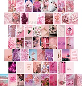 60 Pieces Pink Aesthetic Pictures for Wall Collage Kit Warm Color Room Decor Wall Collage Aesthetic Pictures for Teen Girls Aesthetic Cute Bedroom, Dorm Photo Display, 4 x 6 Inch