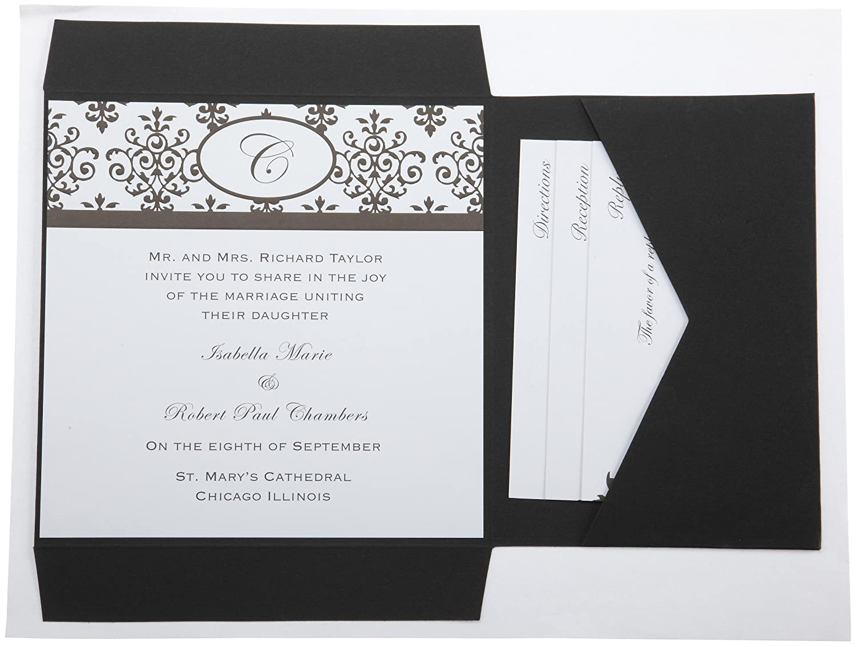 Wilton Wedding Invitations Template: Wilton Black & White Scroll Monogram Pocket Invitation Kit