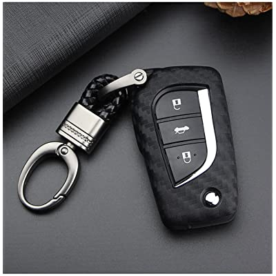 M.JVisun Soft Silicone Rubber Carbon Fiber Texture Cover Protector for Toyota Fob, Car Keyless Entry Remote Key Fob Case for Toyota Levin Camry Highlander Corolla RAV4 Fortuner Fob Remote Key -Black: Automotive