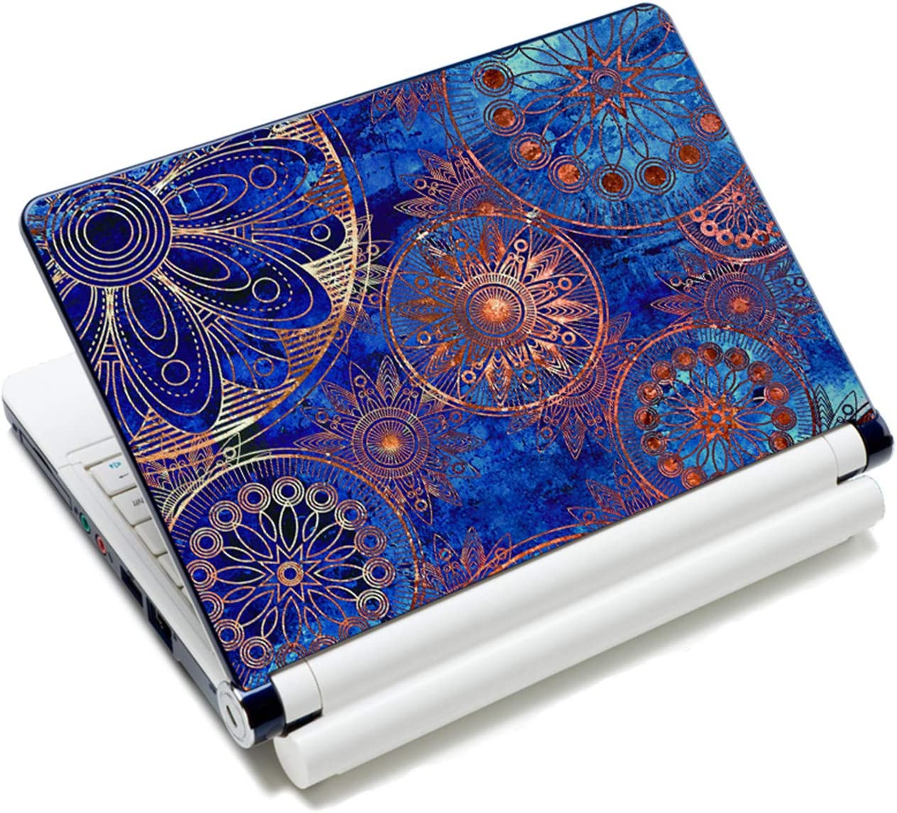 """Laptop Skin Vinyl Sticker Decal, 12"""" 13"""" 13.3"""" 14"""" 15"""" 15.4"""" 15.6 inch Laptop Skin Sticker Cover Art Decal Protector Fits HP Dell Lenovo Compaq Apple Asus Acer (Blue Flower)"""
