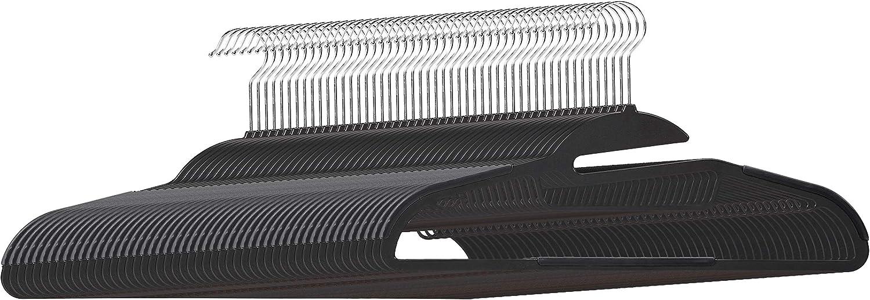 Basics Lot de 30 cintres en plastique ultra robustes antid/érapants avec caoutchouc et barre horizontale Gris