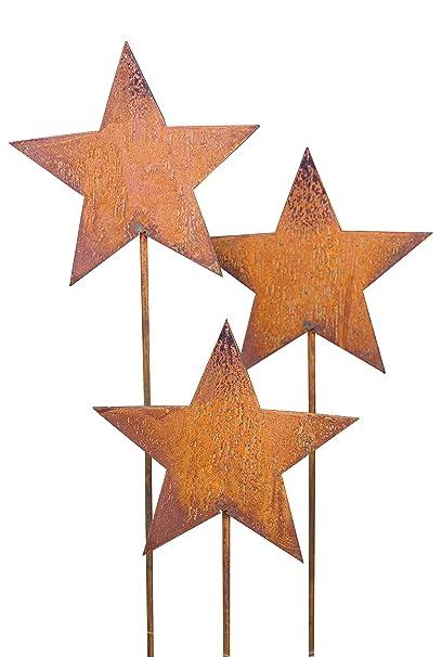 Sterne Set 4 Stück  Edelrost Gartendeko Metall Rost Weihnachten Winter