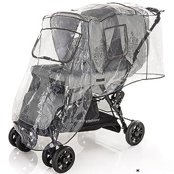 Zwillingskinderwagen hintereinander  Regenschutz für Geschwisterwagen (Kinder sitzen hintereinander ...