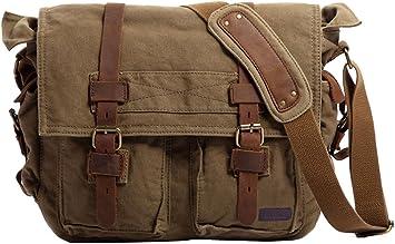 Mens Canvas//Cotton Shoulder Messenger Bag Travel Laptop School Olive Tan New