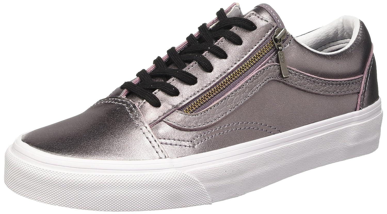 Vans Unisex-Erwachsene Old Skool Zip Low-Top  36 EU|Violett (Metallic Leather/Thistle Purple/True White)