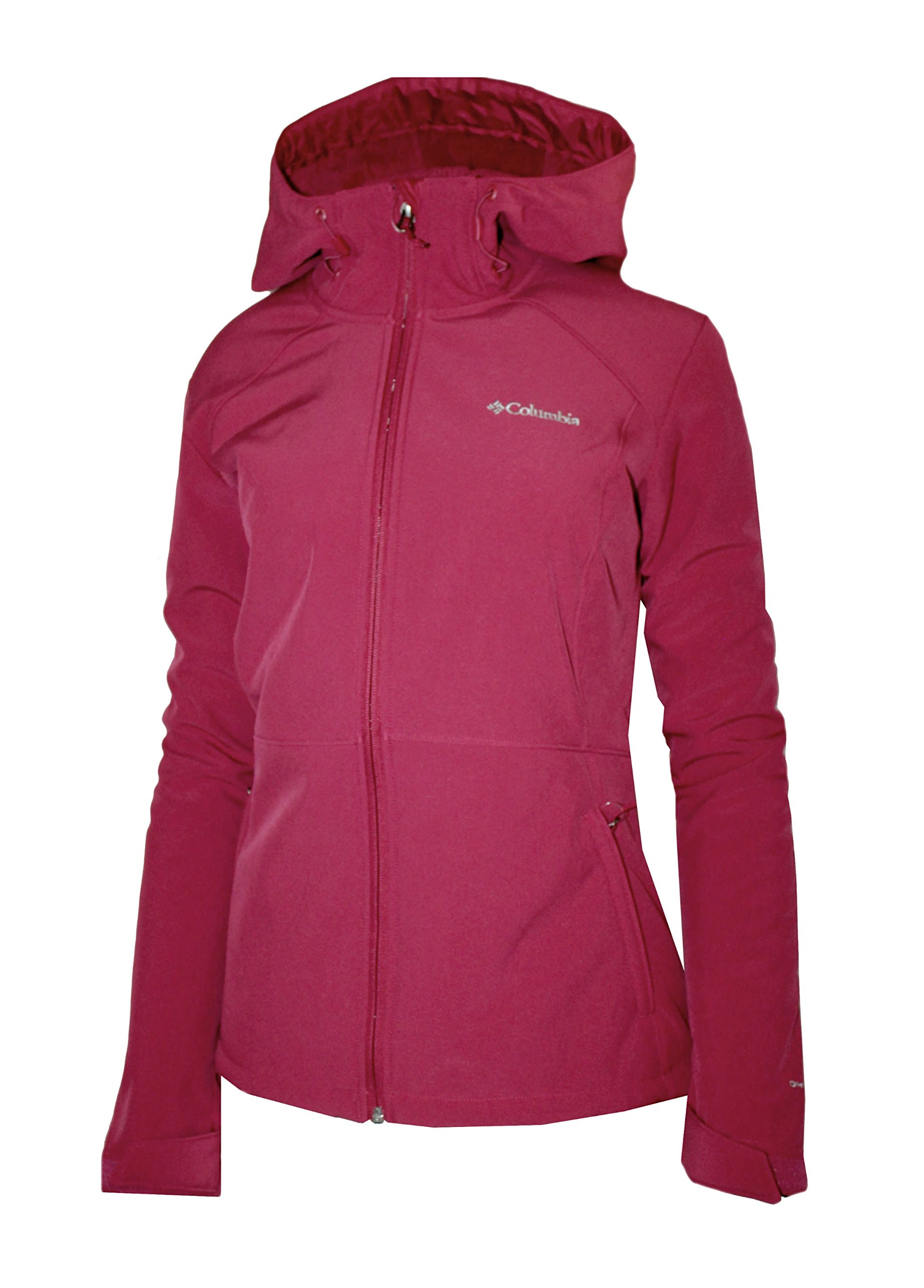 Columbia Womens Alpine Fir Windproof Fleece Lined Softshell Hooded Jacket,Red Orchid (Small)