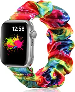 Vcegari Scrunchie Band for Apple Watch 38mm Series 3/2/1, Soft Fabric Printed Elastic Scrunchy Wristbands for 40mm iWatch SE Series 6/5/4, Tie Dye S/M