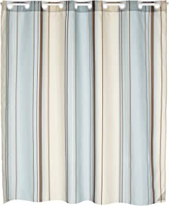 Carnation Home Fashions EZ On Fabric Shower Curtain, Blue Stripes