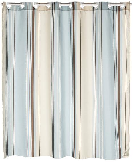Carnation Home Fashions EZ On Fabric Shower Curtain Blue Stripes