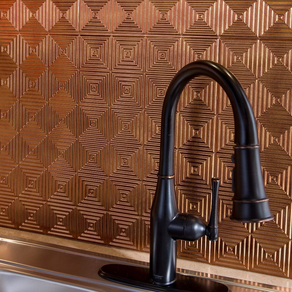 Fasade Easy Installation Miniquattro Backsplash Panel for Kitchen and Bathrooms (18'' x 24'' Panel, Antique Bronze)