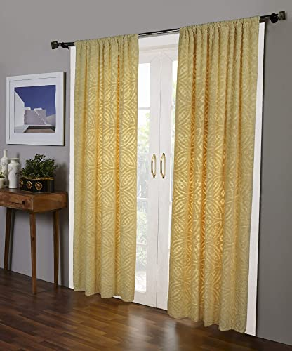 Better Trends Double Wedding Ring Collection Design 100 Cotton Tufted Unique Luxurious Soft Plush Chenille Machine Washable Tumble Dry, Curtain Set, Yellow