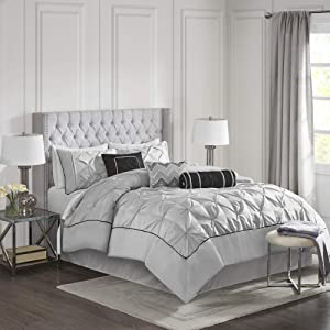 Madison Park MP10-1328 Laurel 7 Piece Comforter Set Queen Grey