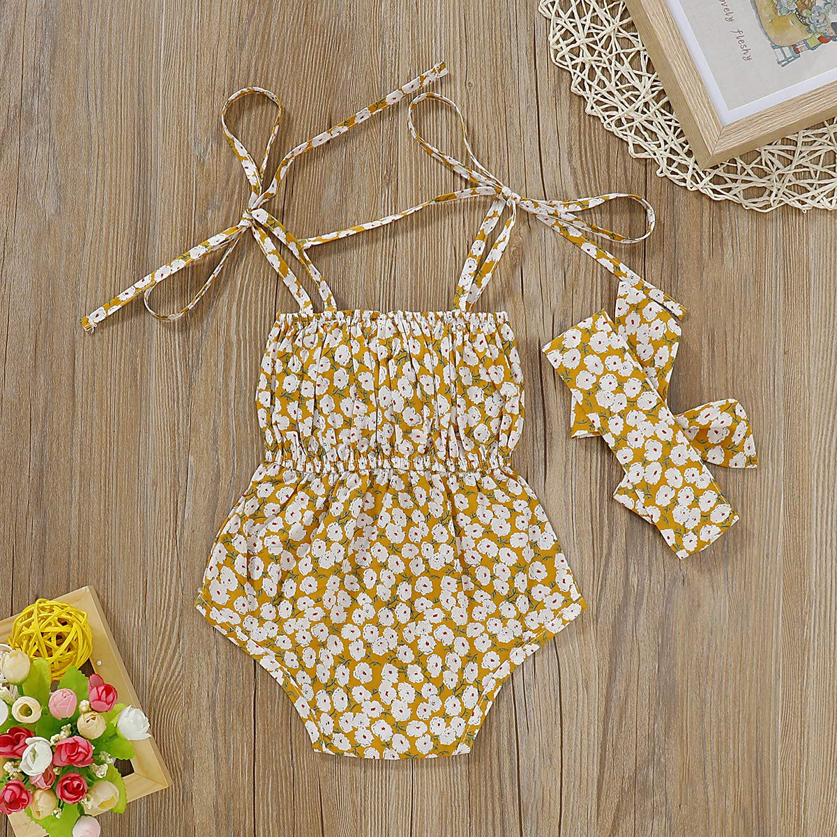 Infant Kids Clothing Baby Girls Cute Bowknot Strap Flower Romper Jumpsuit Bodysuit Top Headband Outfits Clothes Set