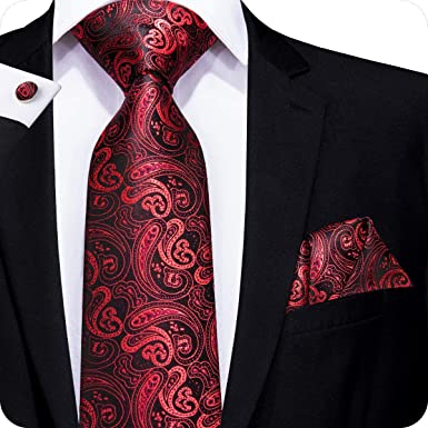 810f8b239379 Hi-Tie Ensemble 3 pièces en soie ornées d un motif cachemire jacquard pour  homme, comprend une cravate, un mouchoir et des boutons de manchette -  Rouge ...
