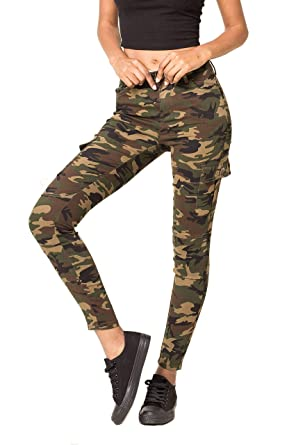 6cf415040a947 Crazy Lover Ladies Women's Jeans Trousers Camouflage Cargo Pants Green  Sizes UK 8 10 12 14