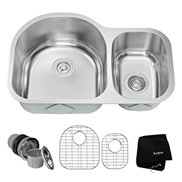 kraus kbu21 30 inch undermount 60 40 double bowl 16 gauge stainless steel kitchen sink kraus kbu21 30 inch undermount 60 40 double bowl 16 gauge      rh   amazon com