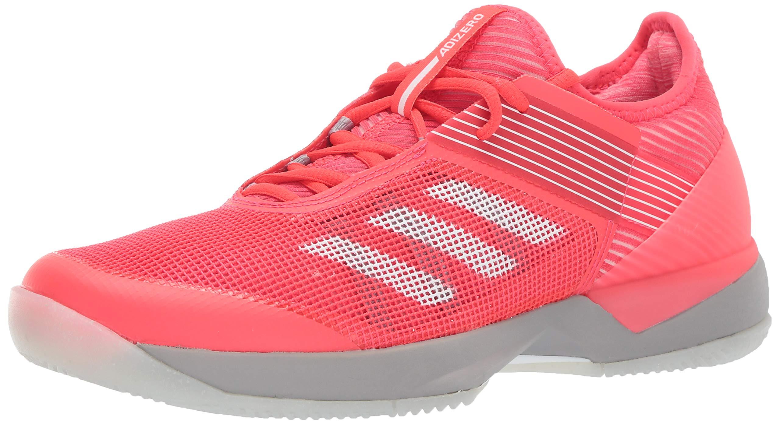 adidas Women's Adizero Ubersonic 3, Shock red/White/Light Granite, 5 M US