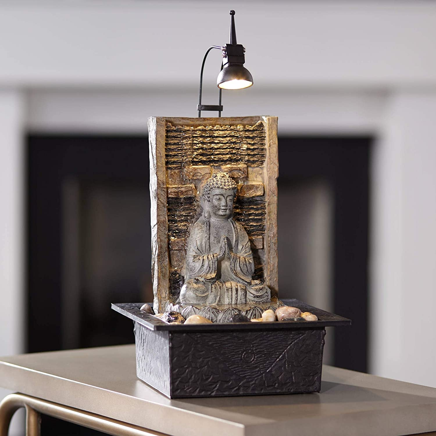 Imprints Plus Thoughtful Siddhartha Buddha Tabletop Water Fountain with 2 Healing Stones and Pouch 4 Pc Bundle 27366